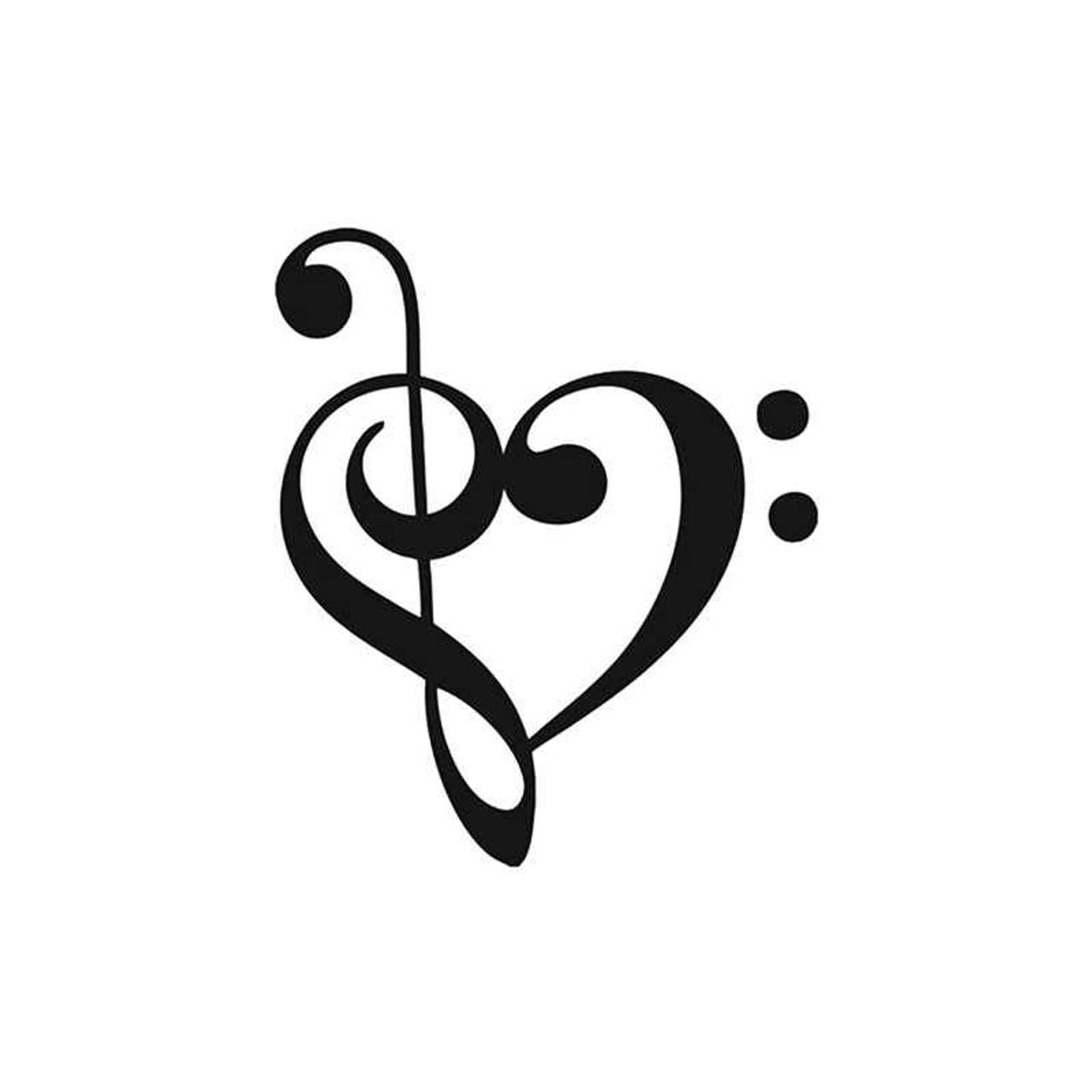 music s music bass clef love vinyl sticker