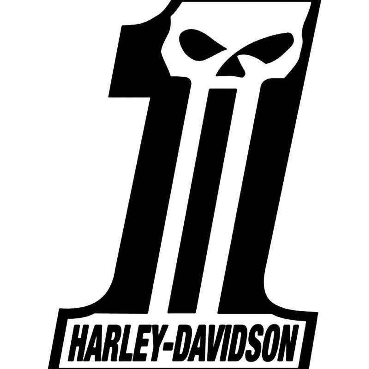 Harley davidson motorcycles dark customs skull vinyl sticker