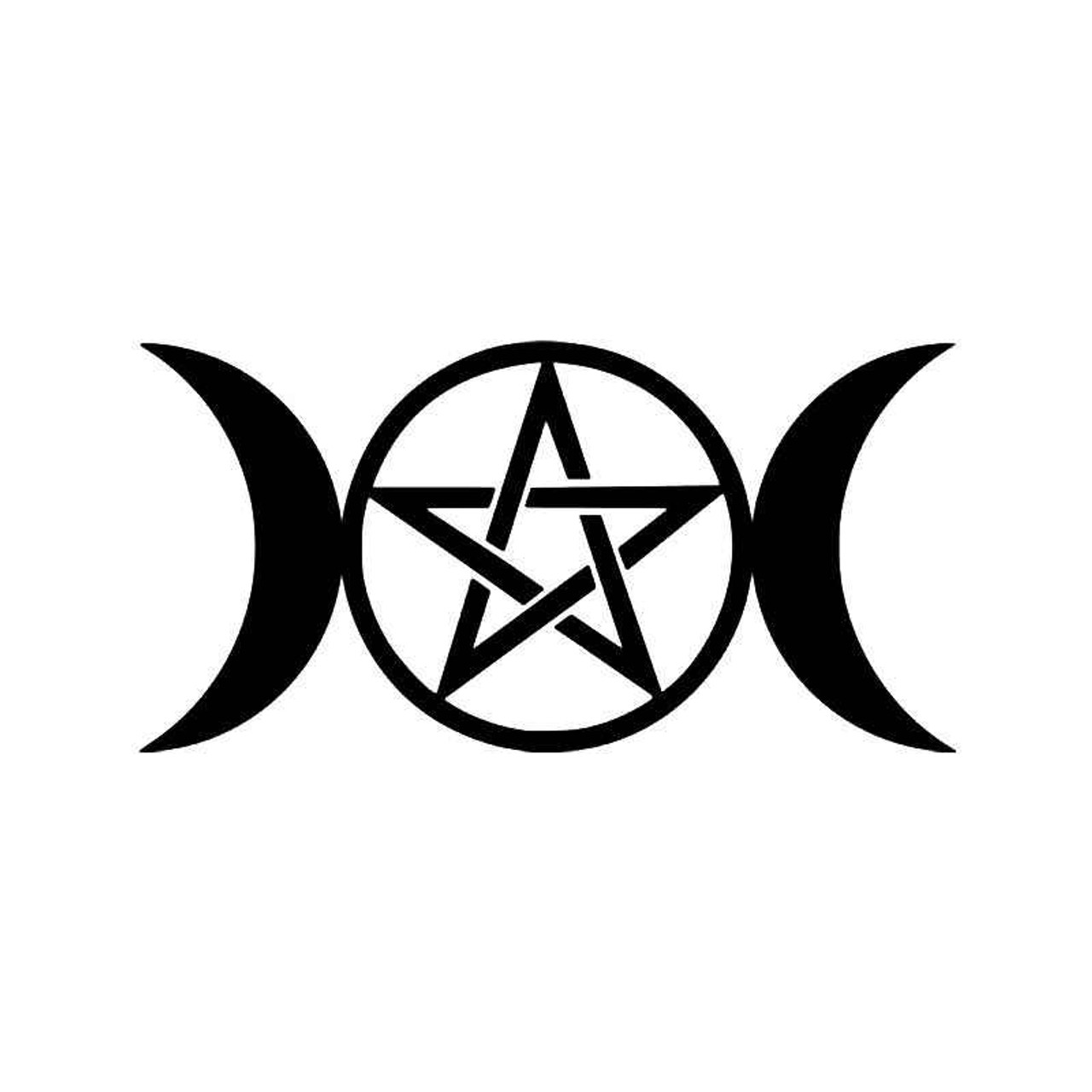 Triple Moon Goddess Wicca Pentacle Pagan Symbol Vinyl Sticker