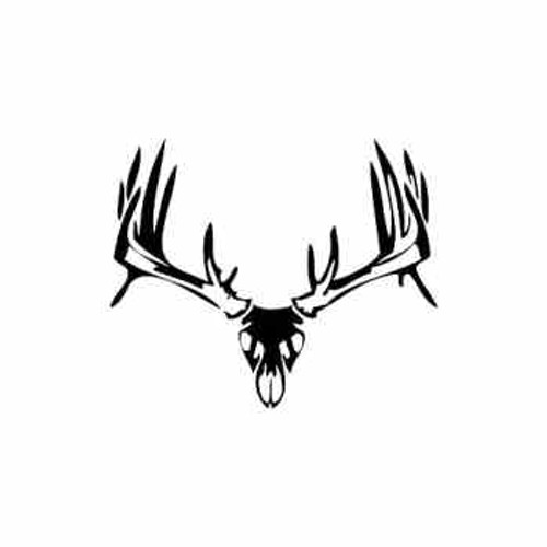 Buck Antlers Skull Style 4 Vinyl Sticker on bone collector stencil