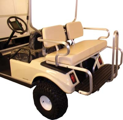 Yamaha G8 Rear Flip Seat Kit - Ivory cushions | Golf Cart Parts on golf cart accessories rear seats, golf cart front bucket seats, ez go golf cart seats, ezgo golf cart custom seats, ezgo golf cart replacement seats, cheap gas golf carts,