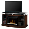 """Dimplex DFP25CG-MA1015 53"""" Windham Media Console and Curved Glass Electric Fireplace with Glass Ember Bed in Mocha"""