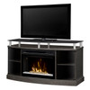 """Dimplex GDS25CG-1015SC 53"""" Windham Media Console, Curved Glass Electric Fireplace with Glass Ember Bed - Silver Charcoal"""