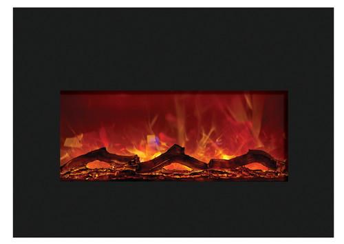 "Amantii INSERT-30-4026-BG 30"" Medium Insert Electric Fireplace with Black Glass Surround"
