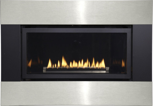 White Mountain Hearth DFQ25M4BLSS Decorative Metal Surround with Barrier Screen - Matte Black and Stainless Steel