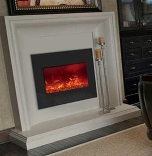 """Amantii ZECL262923 26"""" Zero Clearance Electric Fireplace with Black Glass Surround"""