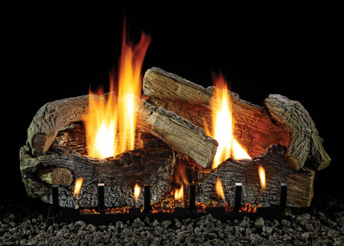 White Mountain Hearth Stacked Aged Oak Log Set - Choice of Vented Burner