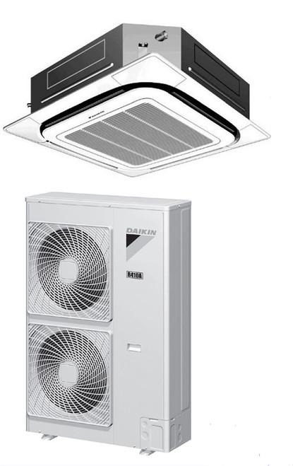 Daikin FCQ36PAVJU / RZQ36PVJU9 36000 BTU Class SkyAir Commercial Roundflow Ceiling Cassette Heat Pump 17.5 SEER Single Zone System
