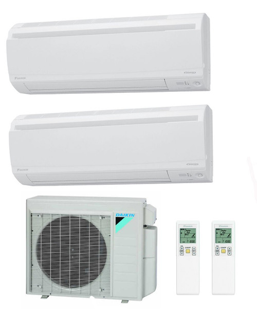 Daikin 18000 BTU Class Aurora Series Dual Zone with 2 9000 BTU Wall Units
