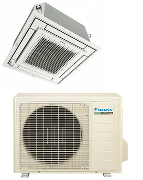 Daikin FFQ12QMVJU / RX12QMVJU 12000 BTU Vista Series Ceiling Cassette Heat Pump Single Zone System - Controller Required