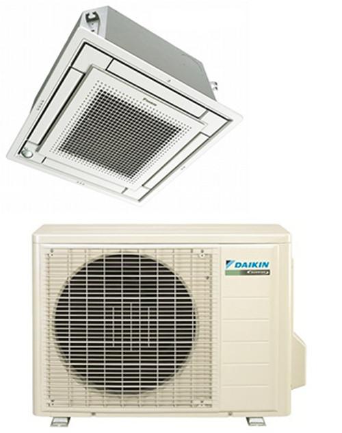 Daikin FFQ15Q2VJU / RX15QMVJU 15000 BTU Vista Series Ceiling Cassette Heat Pump Single Zone System - Controller Required