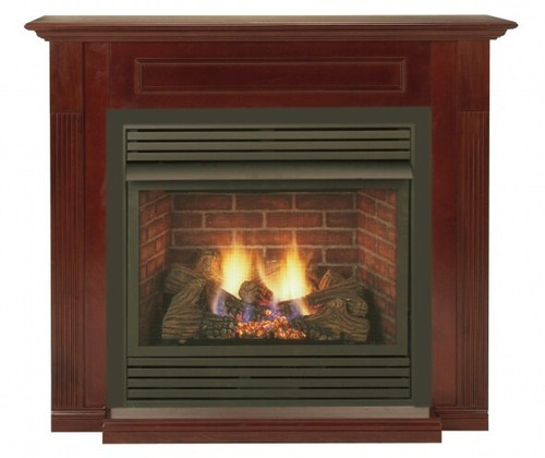 "Monessen WSHGC32F-DC-A 32"" Birch Standard Wall Cabinet Mantel with Hearth - Dark Cherry"