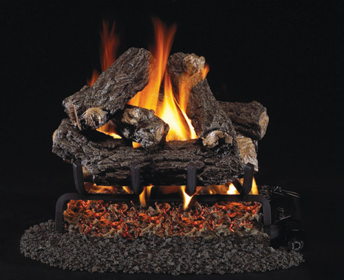 "RH Peterson Real-Fyre 16"" Rustic Oak Designer Log Set (For Smaller Fireplaces) - Choice of Vented Burner and Valve Kit"