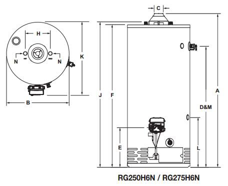 Bradford White Rg275h6n 75 Gallon Gas Water Heater