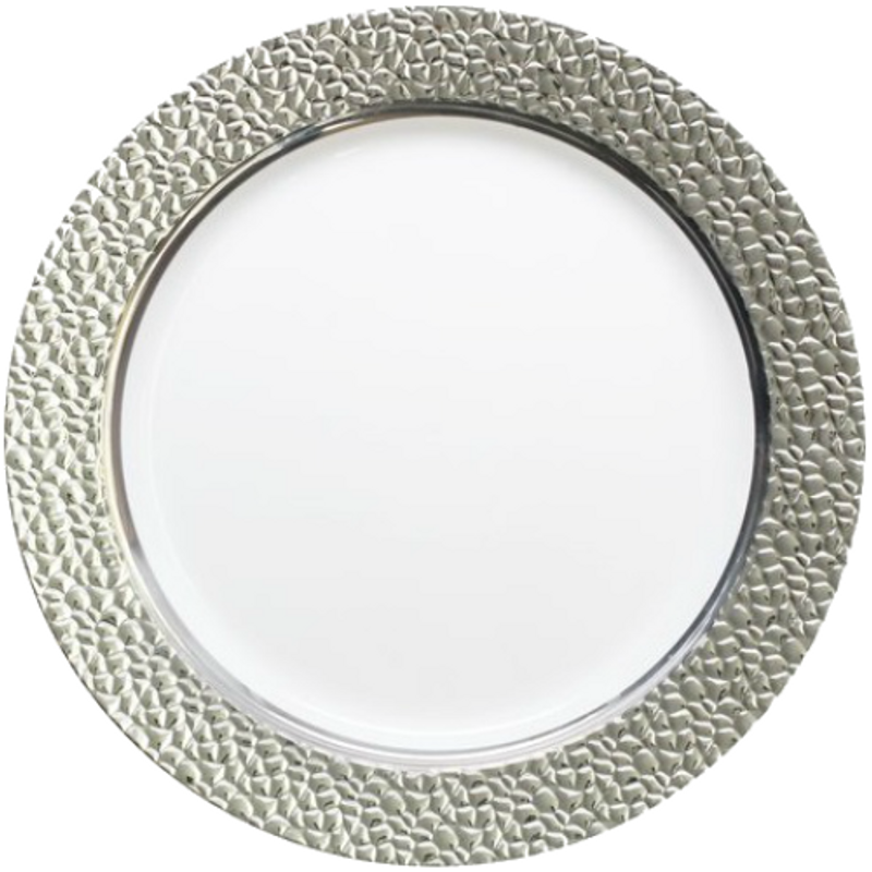 "Decor China-Like Hammered 10.25"" White-Silver Plastic Plates"