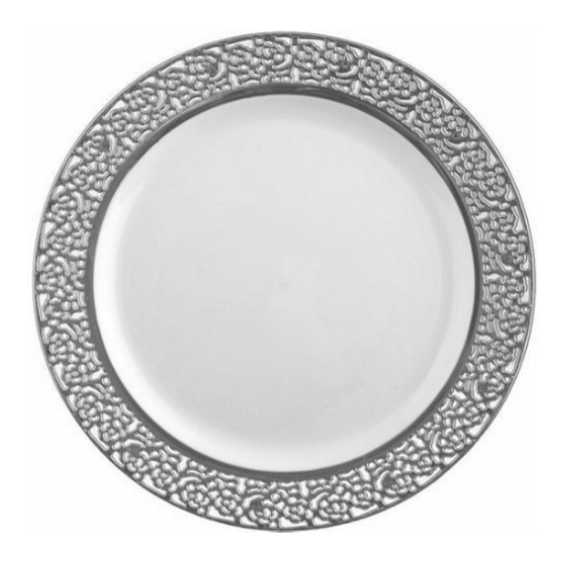 "Decor China-Like Inspiration 9"" White-Silver Plastic Plates"