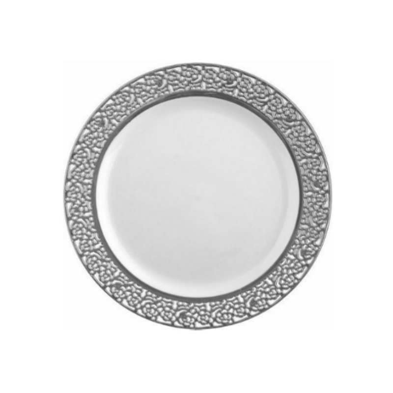 "Decor China-Like Inspiration 7.25"" White-Silver Plastic Plates"