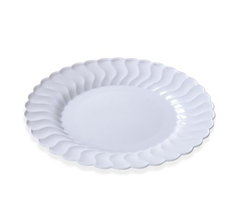 "Flairware 10.25"" Plastic White Dinner Plates"