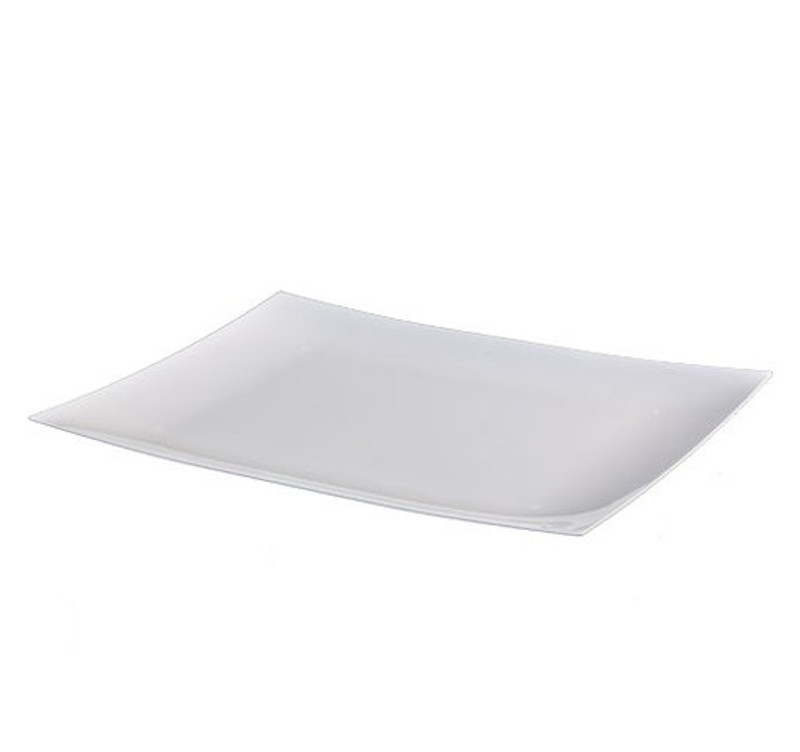 Lillian elegant rectangle disposable plates. Perfect for a classy dinner parties or weddings. These plates are made from heavyweight plastic. Sold in wholesale bulk and retail.