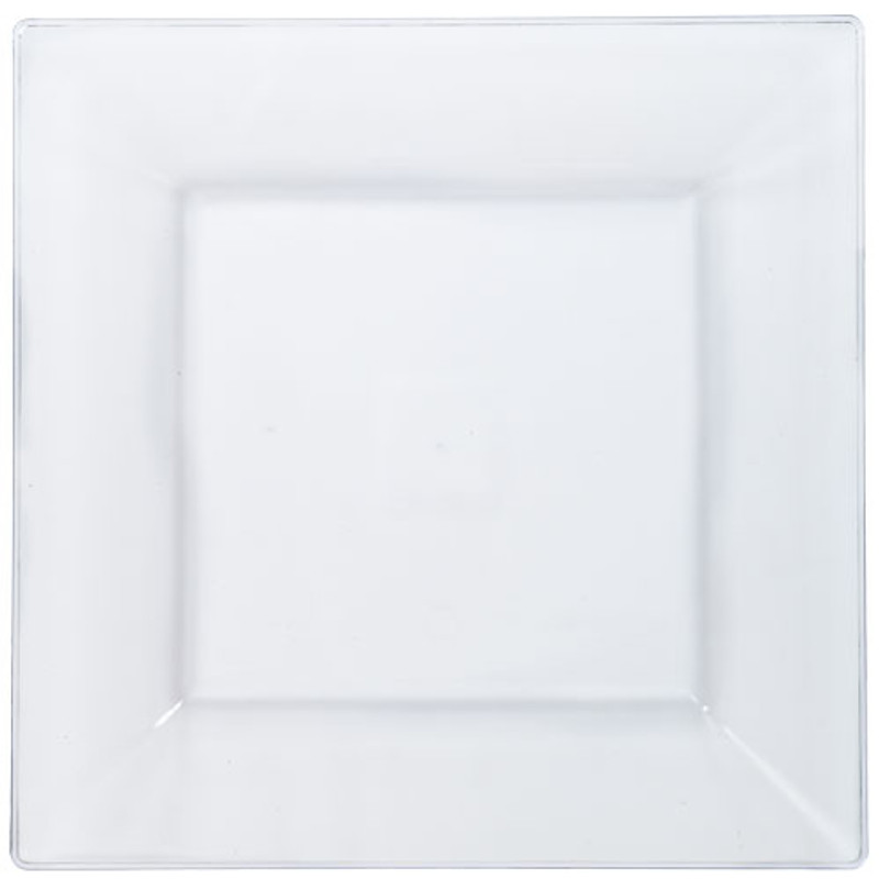 "Solid Squares 10.75"" Clear Square Plastic Plates"