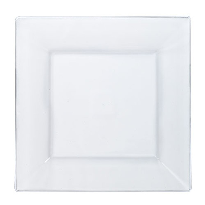 "Solid Squares 9.5"" Clear Square Plastic Plates"