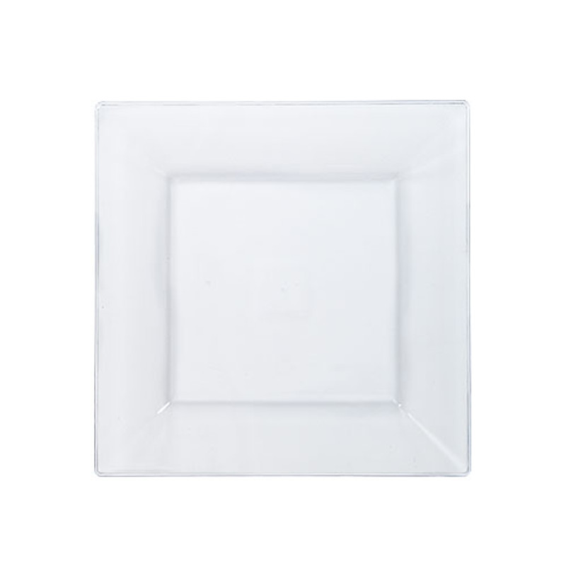 "Solid Squares 6.5"" Clear Square Plastic Plates"
