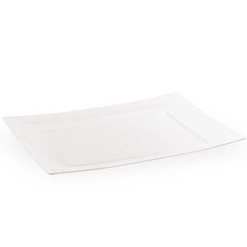 "Lillian 11.75"" Clear Plastic Rectangle Entree Plates"