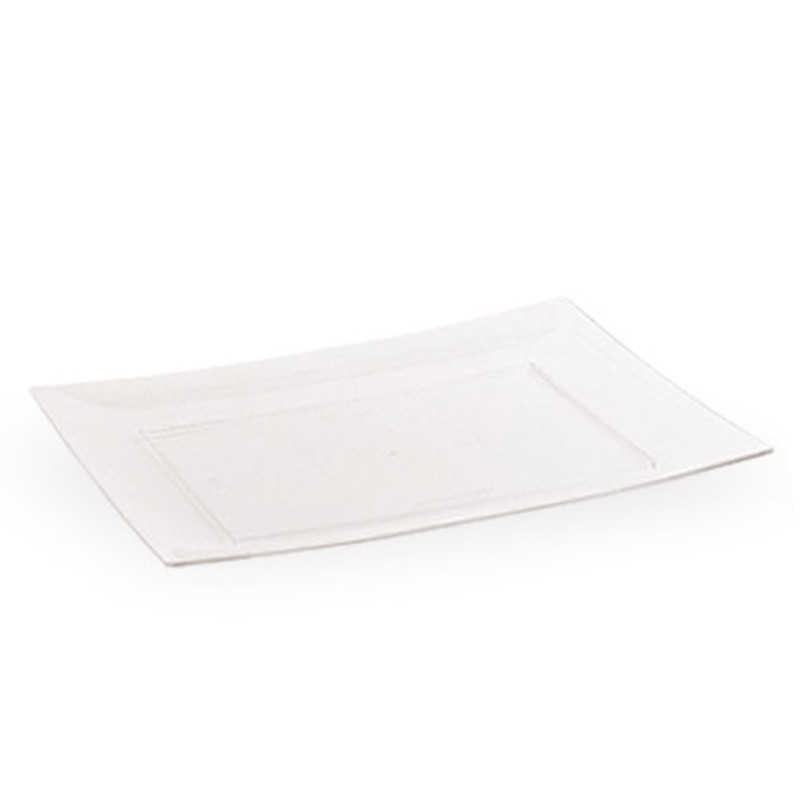 "Lillian 9"" Clear Plastic Rectangle Salad Plates"