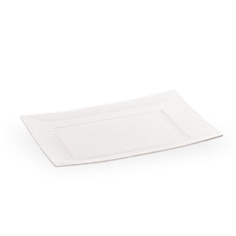 "Lillian 7"" Clear Plastic Rectangle Dessert Plates"