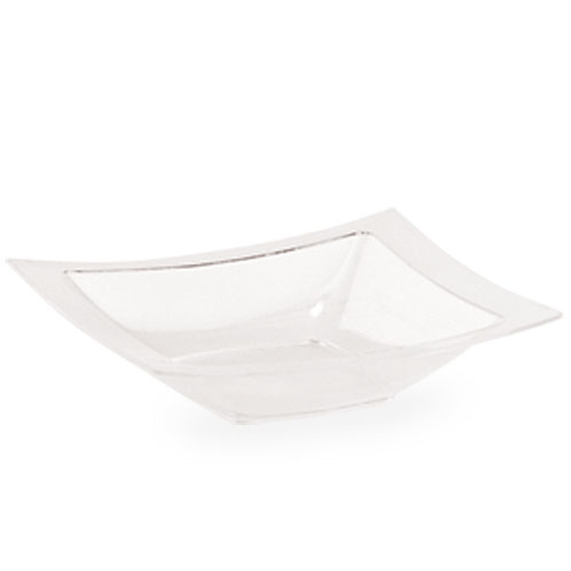 Lillian 12 oz. Clear Plastic Rectangle Bowls