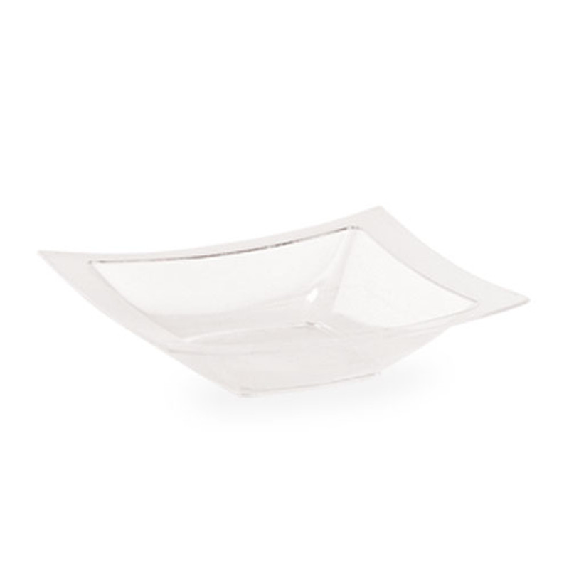 Lillian 5 oz. Clear Plastic Rectangle Dessert Bowls