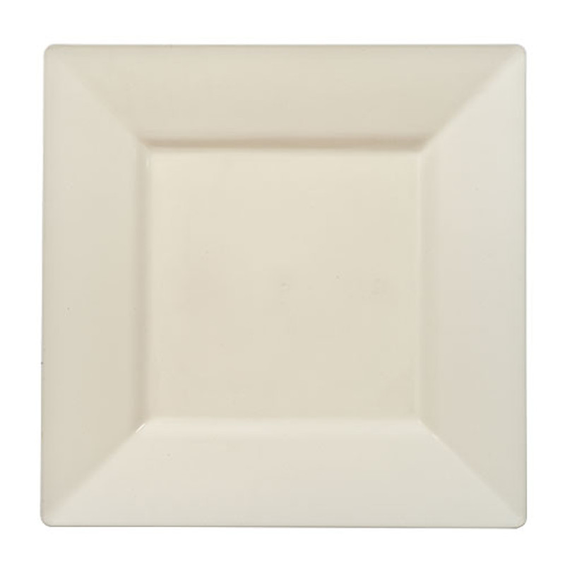 Elegant Lillian square disposable plates. Perfect for a classy dinner parties or weddings. These are made from heavyweight plastic. Sold in wholesale bulk and retail.