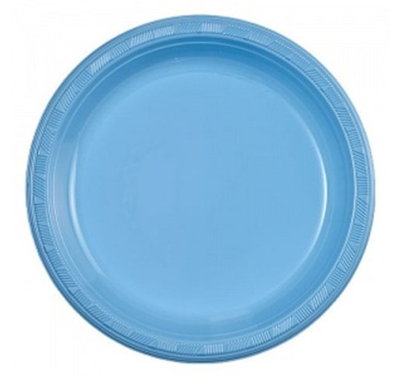 "Light Blue 9"" Plastic Plates"