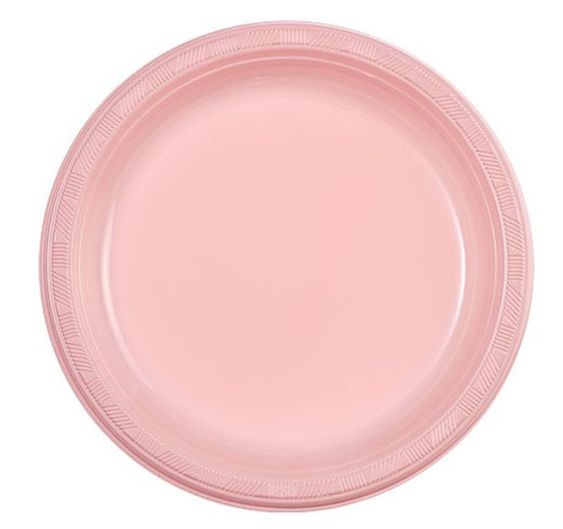 "Light Pink 9"" Plastic Plates"