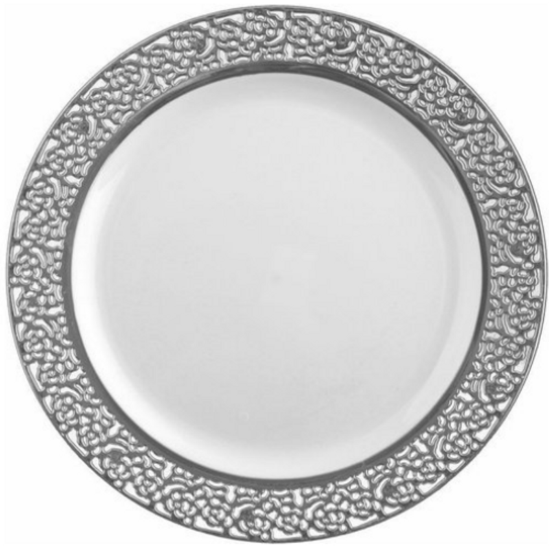 "Decor China-Like Inspiration 10.25"" White-Silver Plastic Plates"