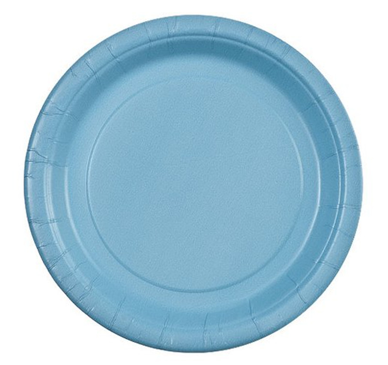 "Light Blue 7"" Round Paper Plates"