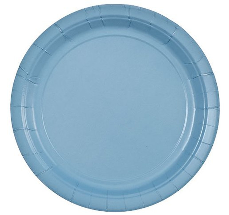 "Light Blue 9"" Round Paper Plates"