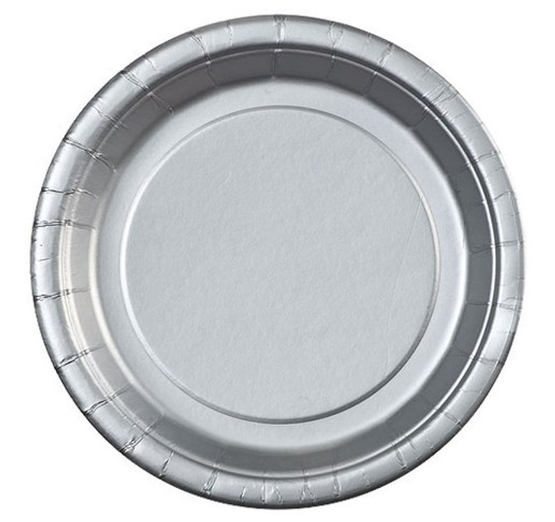 "Silver 7"" Round Paper Plates"
