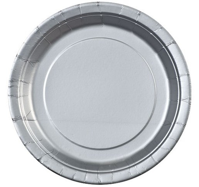 "Silver 9"" Round Paper Plates"