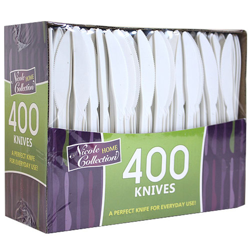 Nicole Medium-Weight White Plastic Knives