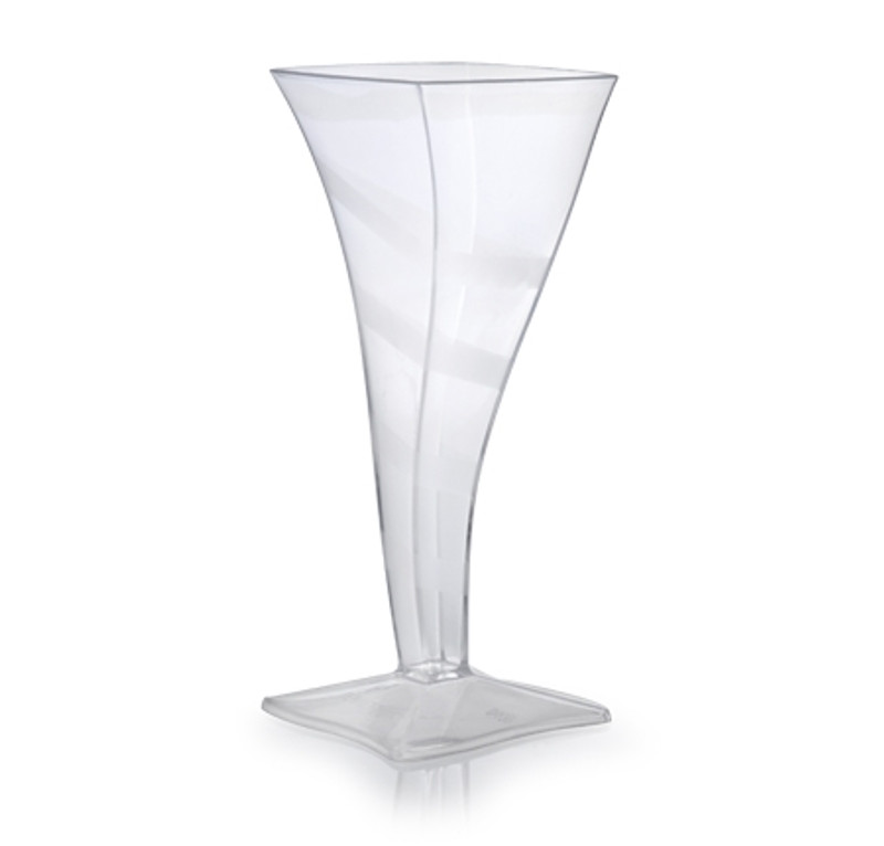 Wavetrends elegant square champagne flutes with translucent stripe design. Perfect for classy dinner parties or weddings. These flutes are made from heavyweight plastic. Sold in wholesale bulk and retail.