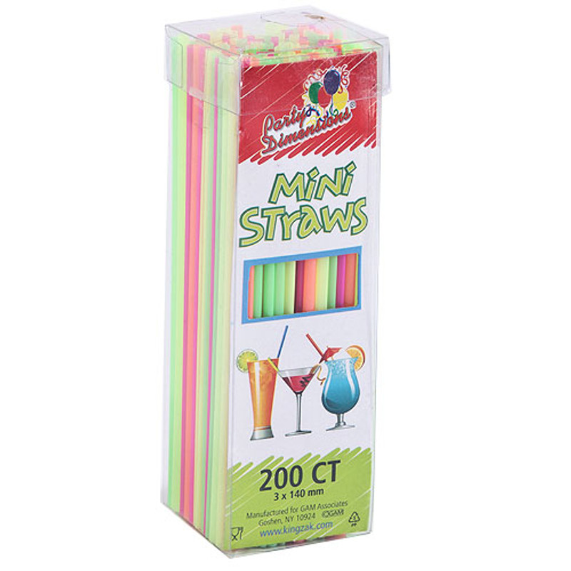 Party Dimensions Plastic Multi-Colored Neon Mini Straws