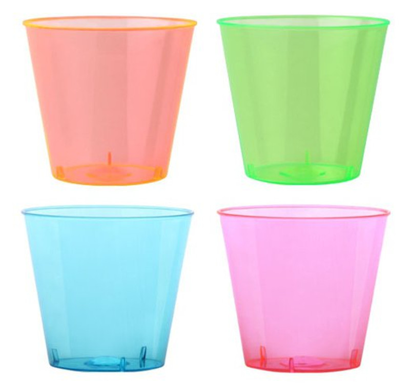 1 oz Plastic Neon Shot Cup in 4 Colours