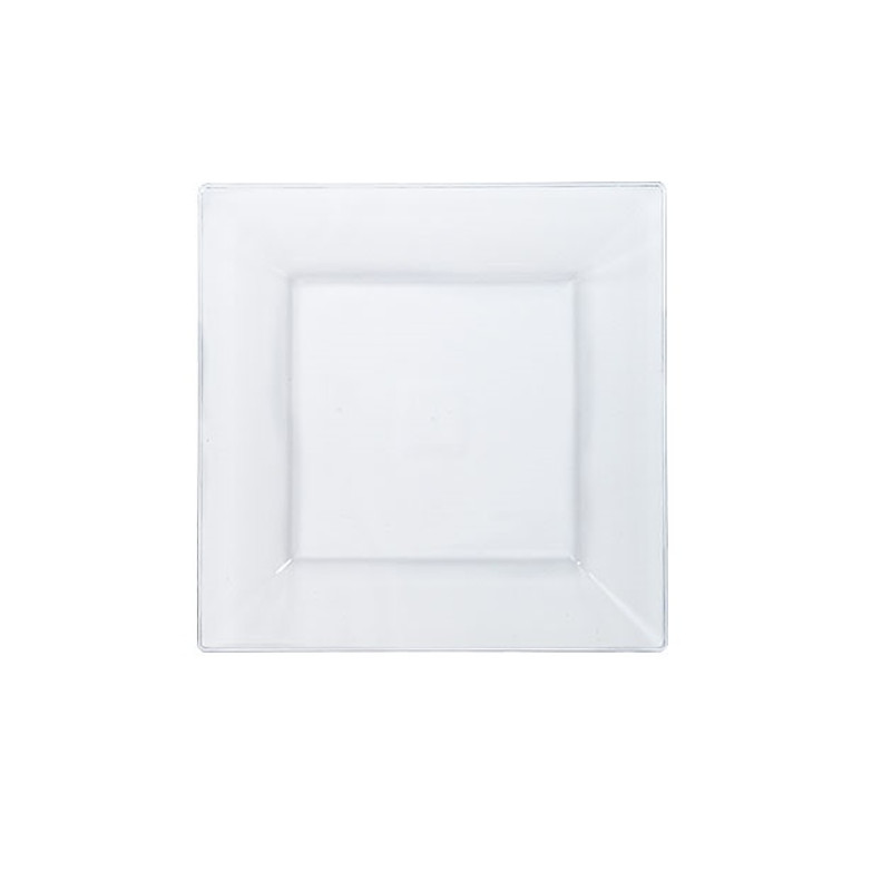 "Solid Squares 4.5"" Clear Square Plastic Plates"