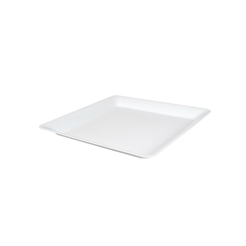 "10.75"" x 10.75"" White Plastic Square Trays"