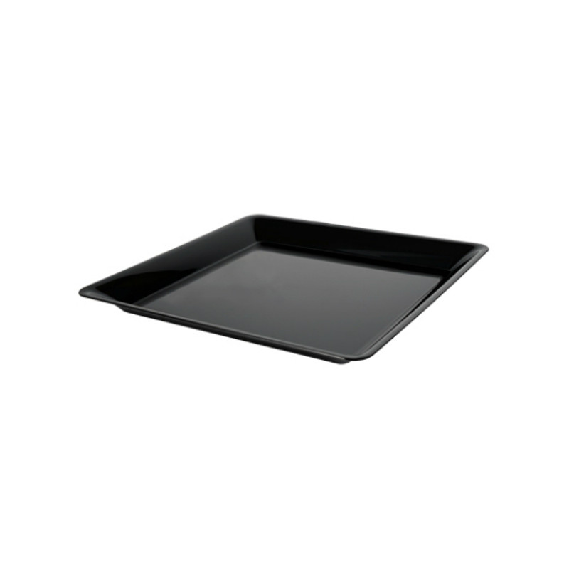 "10.75"" x 10.75"" Black Plastic Square Trays"