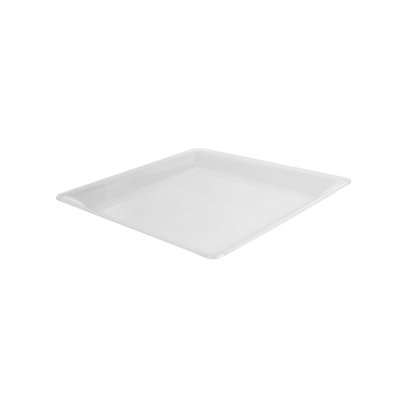 "12"" x 12"" Clear Square Plastic Trays"