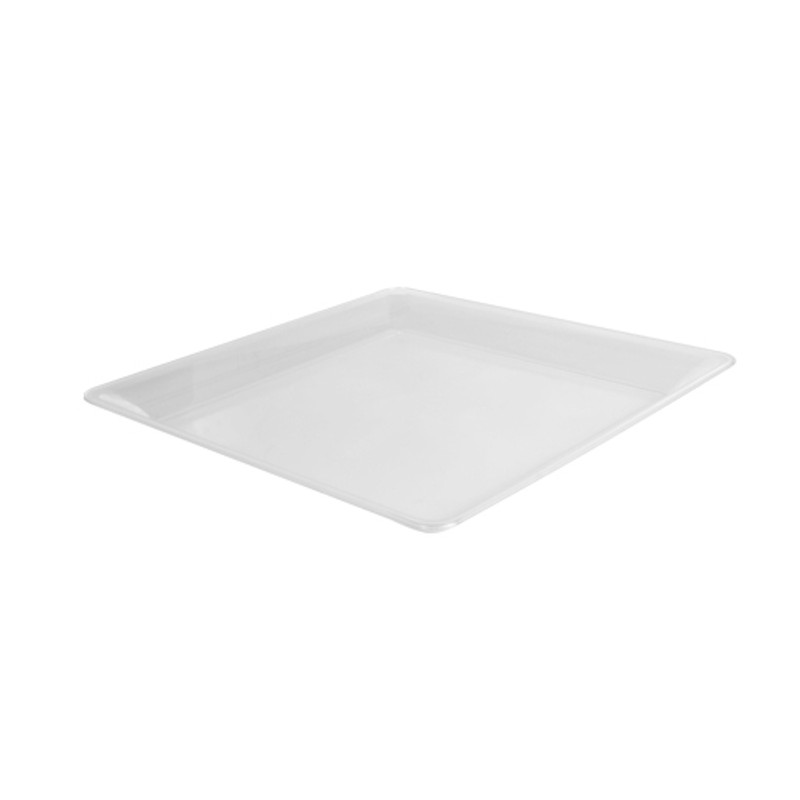"14"" x 14"" Clear Square Plastic Trays"
