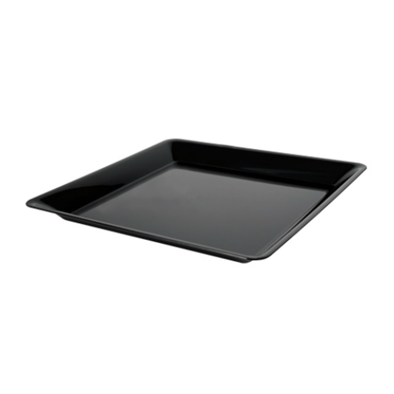 "14"" x 14"" Black Square Plastic Trays"