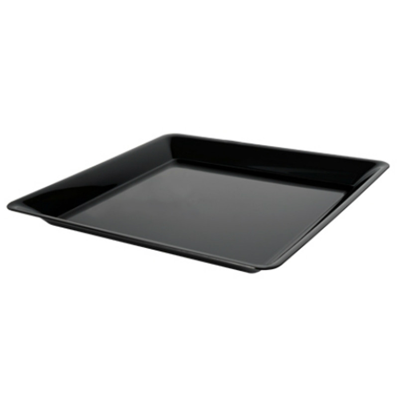 "16"" x 16"" Black Square Plastic Trays"